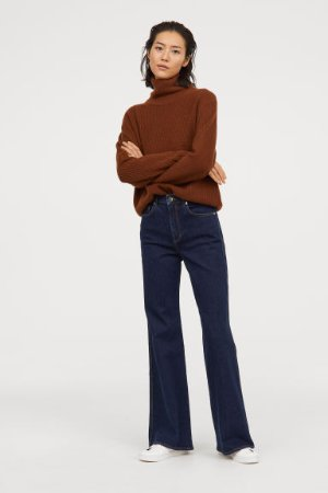 Wide Regular Jeans - Dark blue - Ladies   H&M US