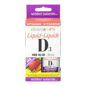 $5.67 (原价$7.47)Webber Naturals 哺乳期婴儿维生素D3滴剂 400IU 35ml