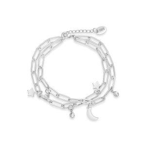 CZ, Moon, & Star Double Chain Bracelet