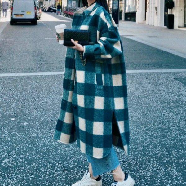 绿色格纹羊毛大衣