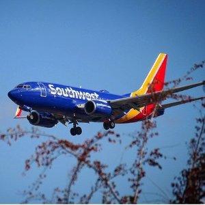单程$39起 往返$78起Southwest Airlines 西南航空美国境内航线春季大促