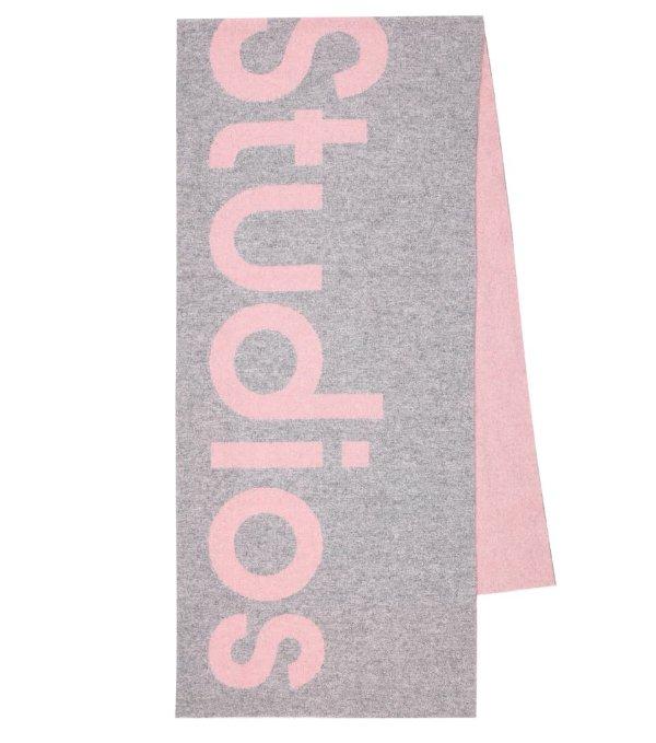 灰粉色logo大围巾