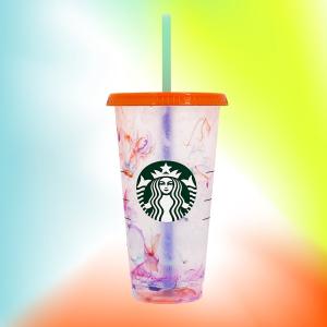 夏季限定版海洋元素随行杯上新:Starbucks 变色五彩环保杯 倒水变幻缤纷色彩 每个$5