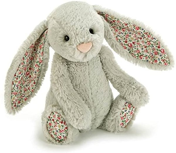 碎花耳朵灰色兔子