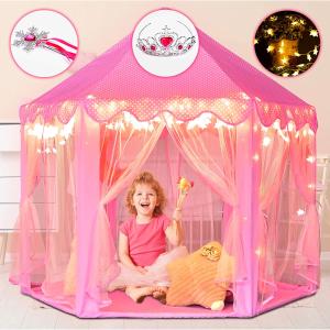$40.75包邮(原价$47.99)Saikotent 天生贵公主 粉色少女心帐篷  皇冠、权杖 ,梦幻星星灯