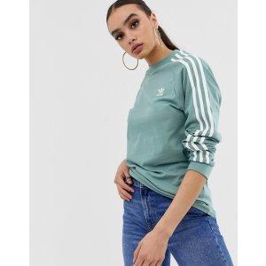 ASOS最高立减$70adidas Originals adicolor three stripe long sleeve t-shirt in vapour steel   ASOS