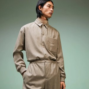 LacosteMen's Fashion Show Solid Wool Shirt with Chest Pocket