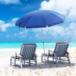 独家:Songmics 玻璃纤维沙滩防紫外线遮阳伞 UPF50+ 7ft