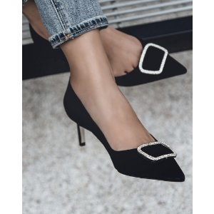Pedder RedONAKA - CRYSTAL BUCKLE POINTED PUMPS BLACK KID SUEDE