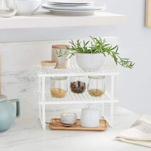 $14.95(原价$30.71)史低价:Amazon Basics 金属双层厨房储物架 餐具/调料罐收纳必备