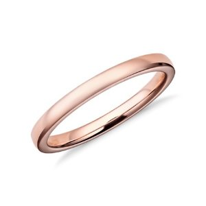 Blue NileLow Dome Comfort Fit Wedding Ring in 14k Rose Gold (2mm) | Blue Nile