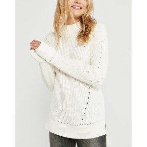 Abercrombie & Fitch白色洞洞毛衣