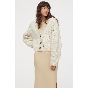 H&M奶油白针织外套