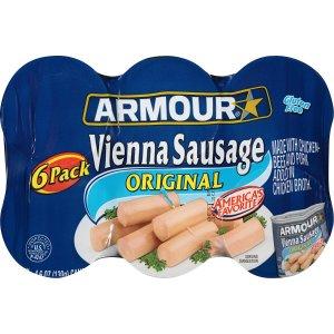 $2.86 泡面搭档Armour Vienna 原味香肠罐头 4.6盎司 6罐