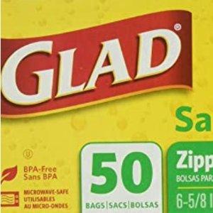 $2.29收手慢无:Glad Zipper 三明治便携式保鲜袋 50个装
