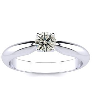 SuperJeweler1/3ct Diamond Solitaire Engagement Ring in 14k White Gold