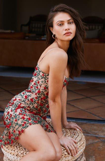 玫瑰刺绣连衣裙