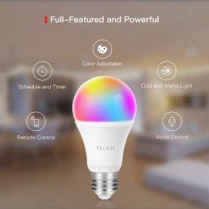 $49.99(原价$63.99)手机/Alexa可语音遥控TECKIN  LED智能灯泡 4件套  RGB变色 WiFi无线 60瓦