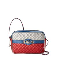 Gucci Blue & Red Laminated 拼色挎包
