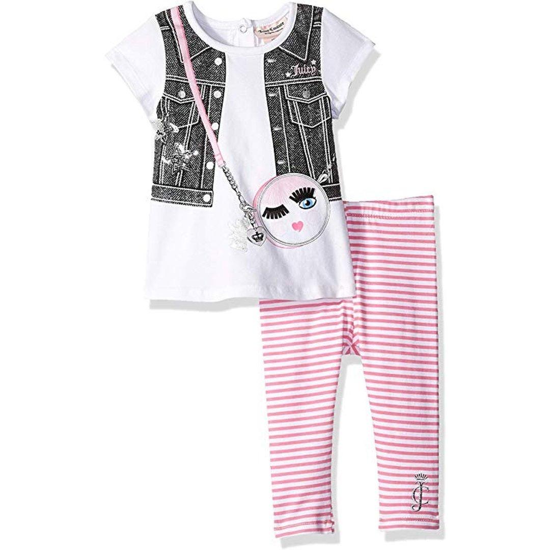 女婴短袖上衣+条纹打底裤