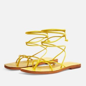 TopshopFOREST Yellow Wrap Sandals