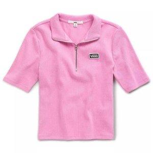 Vans甜美哒女款粉色短袖小polo
