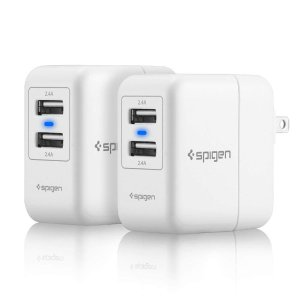 $6.80Spigen Dual USB 4.8Amp Wall Charger (White) 2-Pack