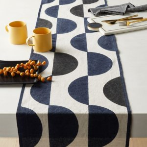 CB2Waxing Block Print Table Runner 120