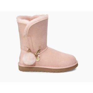 UGG Australia粉色毛球雪地靴