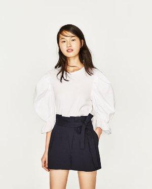 Zara系带高腰短裤