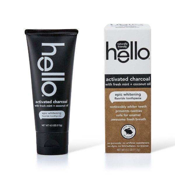 活性炭含氟美白牙膏,含新鲜薄荷和椰子油