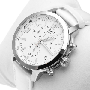 $169TISSOT  PRC 200 Chronograph White Dial Steel Watch No. T055.417.16.017.00