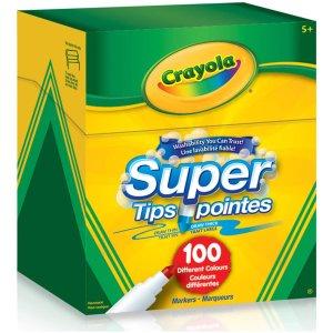 $11.94(原价$16.64) 100支装Crayola 可水洗彩色马克笔 放心让宝宝肆意绘画吧