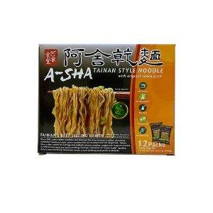 A-Sha Tainan Style Ramen Noodles, 3.35 oz, 12-count