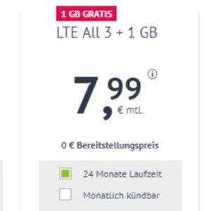 月租€6.99 代号入网再送10欧。送1GB流量+免接通费 包月全网电话/短信+4GB高速流量