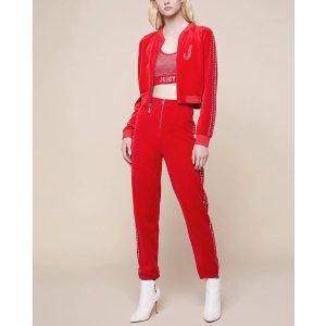 Juicy CoutureSwarovski Embellished Velour Crop Jacket