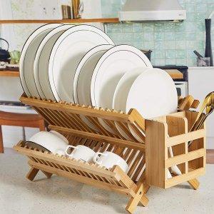 NOVAYEAH 天然竹制双层可折叠碗碟晾干收纳架