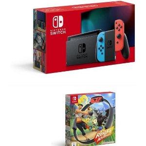 史低价:Nintendo Switch 红蓝机 + 健身环大冒险 定价低+新人9折