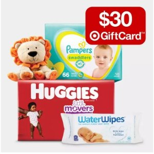 Free $30 Gift Card $100+Target Select baby diapers、Wipes Sale