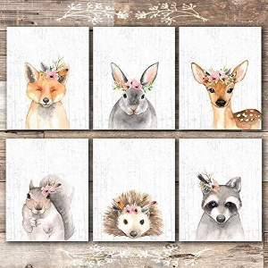 $14.97(原价$19.97)闪购:Dream Big Printables 可爱小动物插画6张 8x10