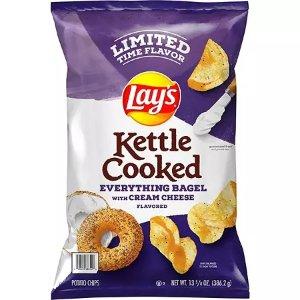 Lay'sKettle Cooked芝士奶油贝果口味薯片 13.58oz