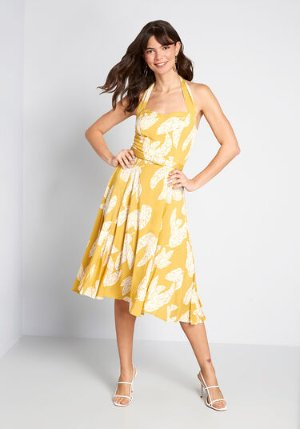 Collectif Ready, Set, Vacay Halter Dress Yellow Leaves | ModCloth