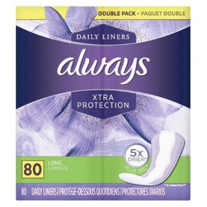 $5.47Always Xtra Protection 无味卫生护垫 加长版 80个