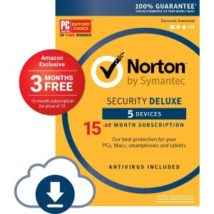$19.99Norton Security Deluxe: 5-Devices/15-Month (Digital Download)