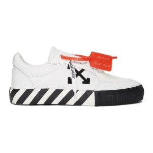 Off-White- White & Black Vulcanized Low Sneakers