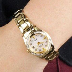 $144.99 (原价 $495) 包邮Citizen Regent Collection 系列镶钻珍珠母贝光动能金色女表促销