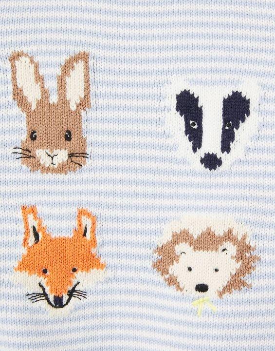 婴儿小动物条纹毛衣