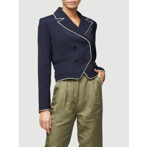 Piped Cropped Blazer -- Navy