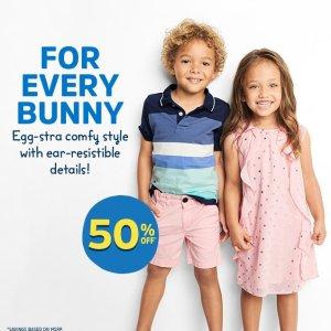 5折+额外8折+包邮 官方搭配单品分析奉上折扣升级:OshKosh BGosh 童装优惠 封面连身裙$17.6, T恤$8