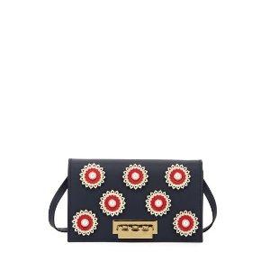 Zac Zac PosenEarthette Floral Studded Crossbody Bag Blue